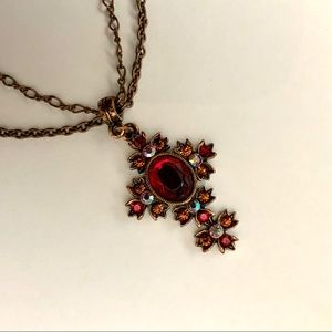 1928 Copper and Red Cross Neckalce